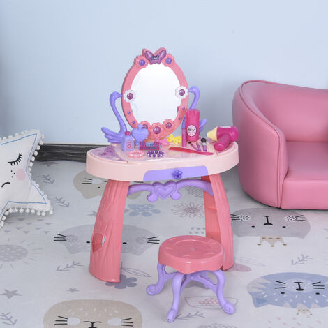 HOMCOM Kids Playtime Dressing Table Vanity MirrorTable Chair Set w/ Accessories