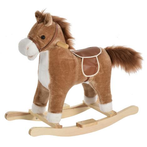 HOMCOM Kids Plush Rocking Horse Ride-On Toy w/ Wood Frame Seat Handlebars Brown