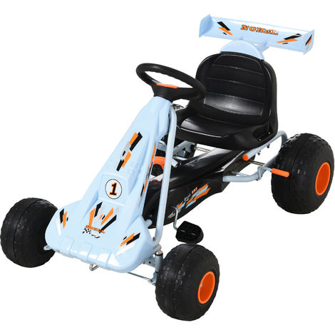 HOMCOM Kids Racing Pedal Go Kart Children Ride on Car w/ Adjustable Seat 3-8 Yrs