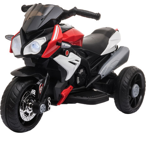 HOMCOM Kids Rechargable Ride-On Motorcycle Electric Bike w/ Lights Music Red