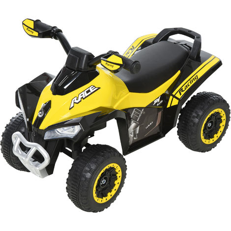HOMCOM Kids Ride-On 4 Wheel Bike Quad Car w/ Lights Music Seat 18-36 Mnths Yellow