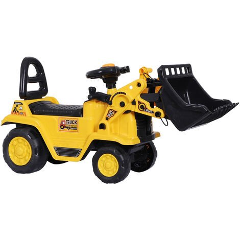 HOMCOM Kids Ride-On Bulldozer Digger Tractor Pulling Cart Pretend Play Truck