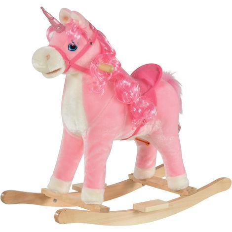 HOMCOM Kids Ride-On Rocking Horse w/ Wood Frame Plush Cushion Sound Pink