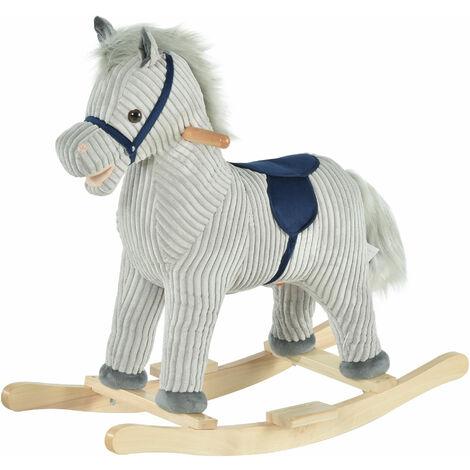 HOMCOM Kids Ride-On Rocking Zebra Horse w/ Wood Frame Plush Sound Ears