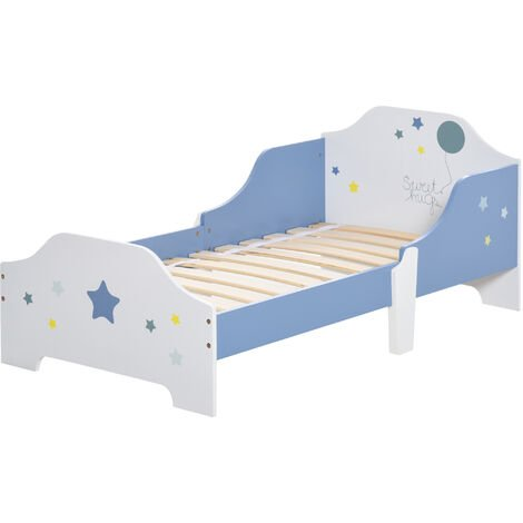 "main image of ""HOMCOM Kids Star Balloon Single Bed Frame w/ Guardrails Slats Bedroom Furniture"""
