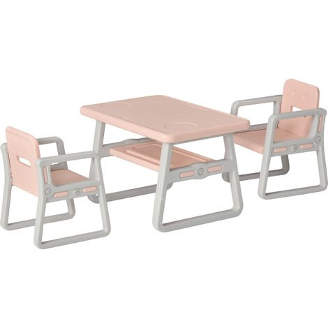 HOMCOM Kids Table & 2 Chairs Set Activity Play Table Writting Desk w/ 2 Stools