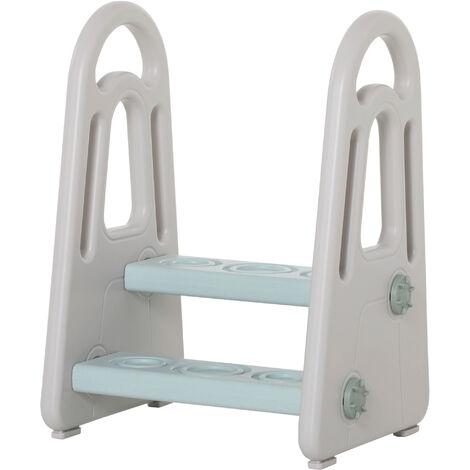 "main image of ""HOMCOM Kids Toddler Step Stool Ladder Learning Kitchen Helper Blue Grey"""