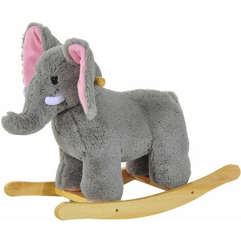 HOMCOM Kids Toy Rocking Horse Wood Plush Handle Ride on Animal Wooden Riding Traditional Rocker Gift w/ 32 nursery rhymes (Grey Elephant)
