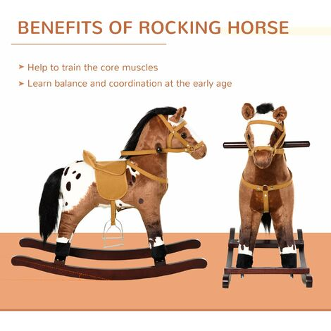 HOMCOM Kids Toy Rocking Horse Wood Plush Pony Handle Ride on Animal Wooden Riding Traditional Rocker Gift w/ Neigh Sound (Dark Brown Horse)