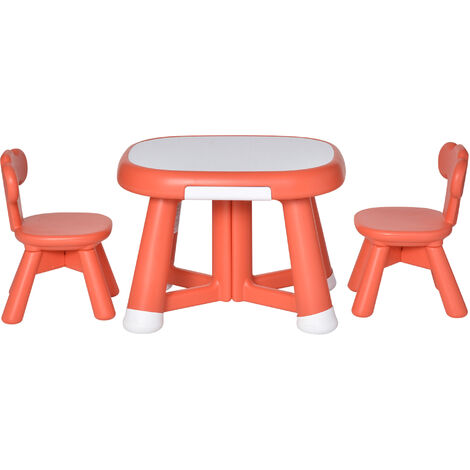 HOMCOM Kids Whiteboard Table & Chair Set Learning Style 1 - 6 Yrs Coral Red