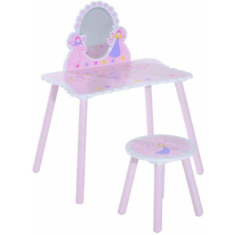 HOMCOM® Kinder Frisiertisch Schminktisch inkl. Hocker - rosa/weiß/pink/blau/gelb