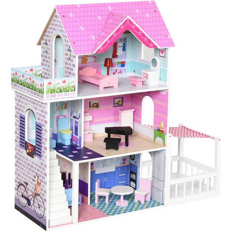 HOMCOM® Kinder Puppenhaus aus Holz Puppenstube Barbiehaus Dollhouse 3 Etagen mit Möbel