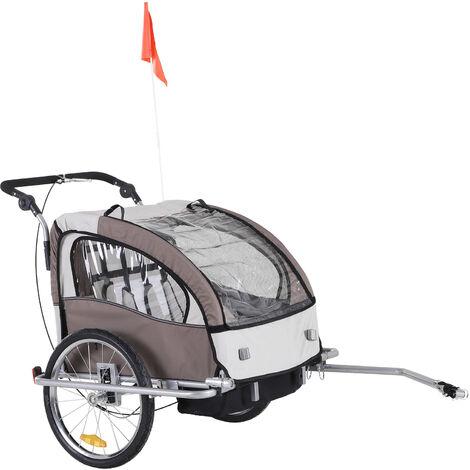 HOMCOM® Kinderanhänger 2in1 Fahrradanhänger Jogger Radanhänger 360° Drehbar - creme/kaffeebraun