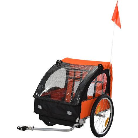 HOMCOM® Kinderanhänger für 2 Kinder Stahlrahmen Sitzträger mit Sicherheitsgurt - orange/blau