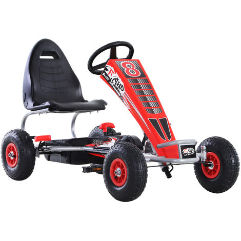HOMCOM® Kinderfahrzeug Go Kart Mit Pedal Sitz verstellbar Gummireifen Metall Rot 121 x 65 x 76 cm