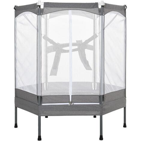 HOMCOM® Kindertrampolin mit Sicherheitsnetz Gartentrampolin Jumper bis 50 kg Metall - hellgrau