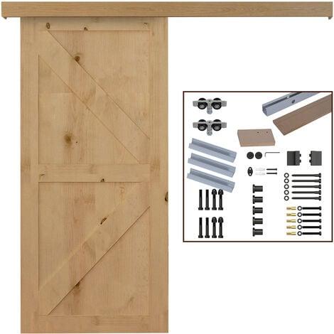 HOMCOM Kit de Herrajes para Puerta Corredera 200cm Riel Accesorios Aleación de Aluminio - Marrón