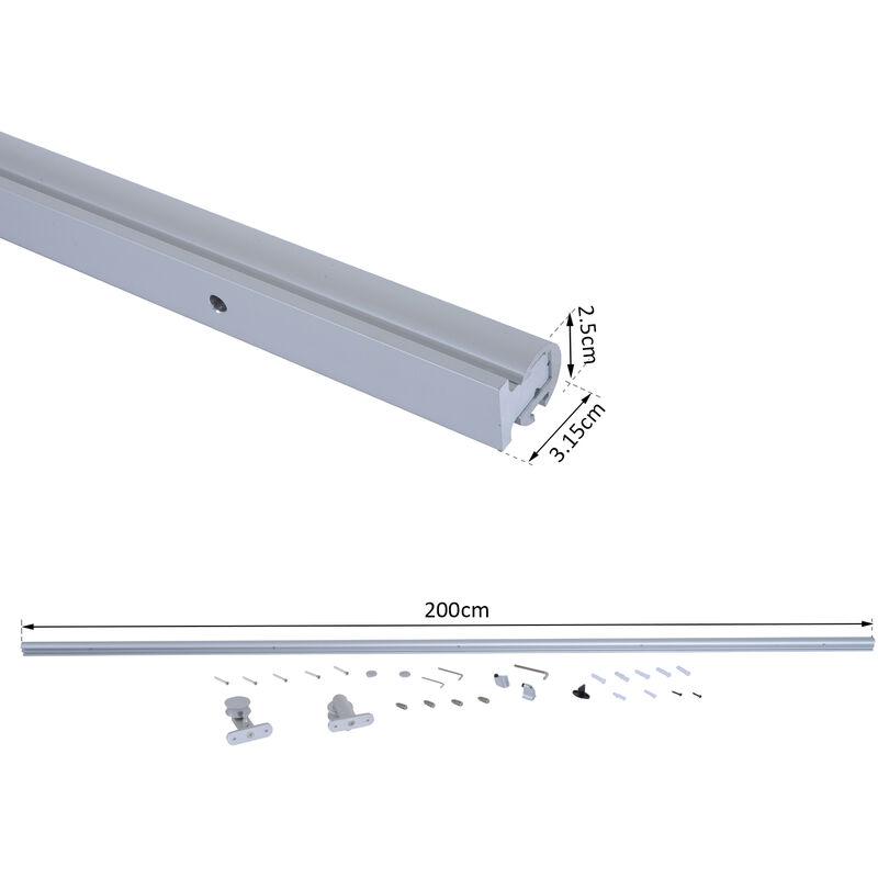 Homcom Kit Instalacion Puerta Corredera Madera Riel Aleacion Aluminio Puertas Corredizas