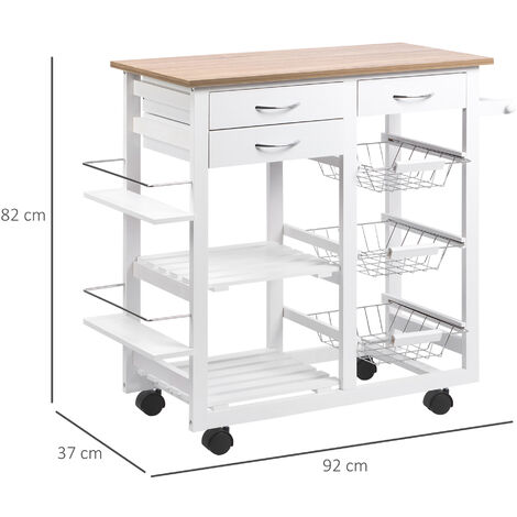 HOMCOM Kitchen Cart Trolley w/ Spice Racks Baskets Drawers Home Food Organisation