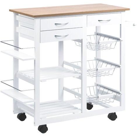 HOMCOM Kitchen Cart Trolley w/ Spice Racks Baskets Drawers Home Food Organisation