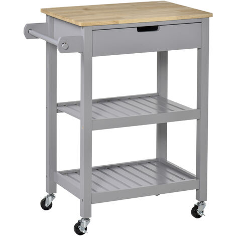 "main image of ""HOMCOM Kitchen Island Trolley Utility Cart w/ Wood Top Wheels Towel Rack Grey"""