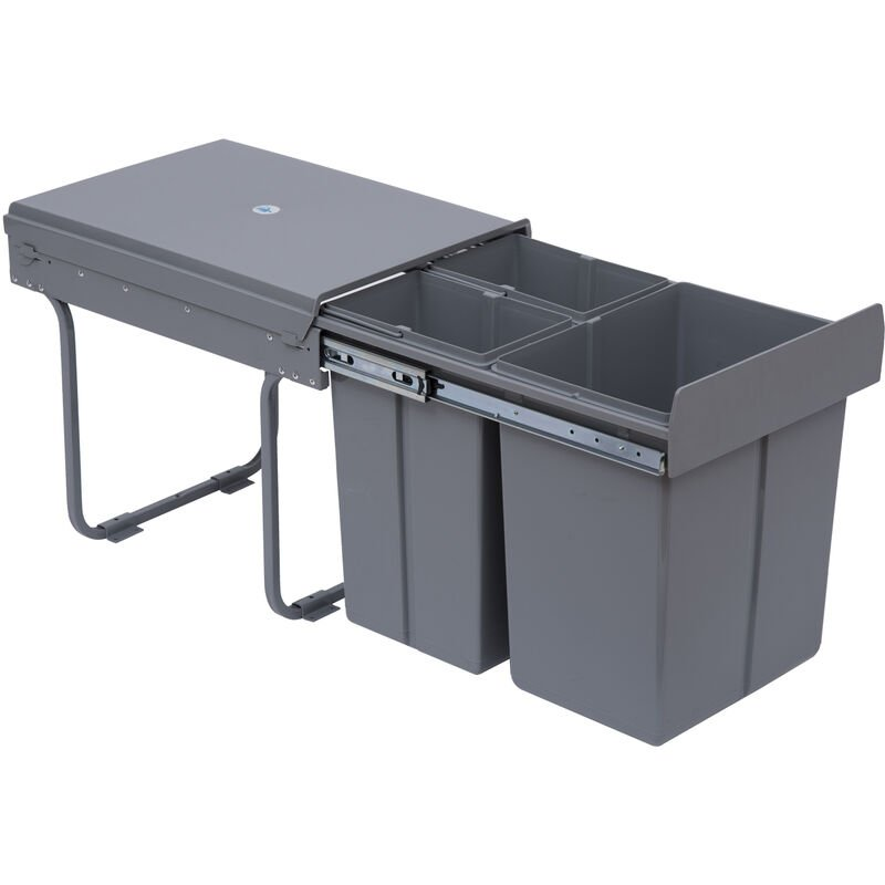 HOMCOM Kitchen Recycle Waste Bin Pull Out Soft Close Dustbin Recycling  Cabinet Trash Can Grey (40L (1x20L+2x10L))