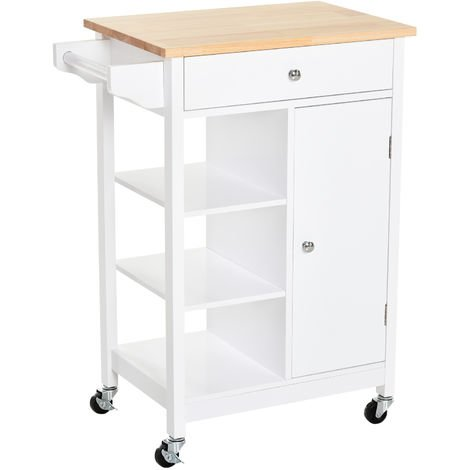 HOMCOM Kitchen Storage Trolley Unit Wood Top Shelves Cupboard Drawer Rail White