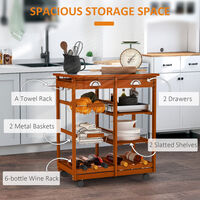 Homcom Kitchen Trolley Cart with Wine Rack Drawers Baskets & Tile Top Chopping Board Wire Wood Shelves