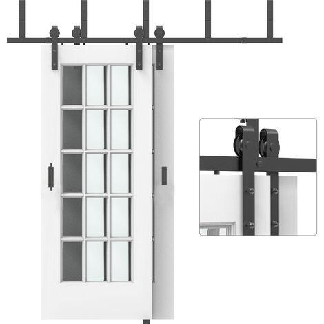 HOMCOM Kits de Accesorios para Doble Puerta Corredera con Rieles de 200 cm Acero Negro