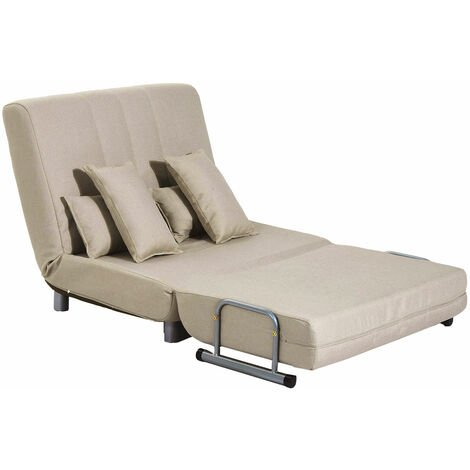 HOMCOM® Klappbares Schlafsofa   Stahl, PC, Schaumstoff   Sofa: 102 x 82 x 81 cm   Bett: 190 x 98 x 25 cm   Creme - beige
