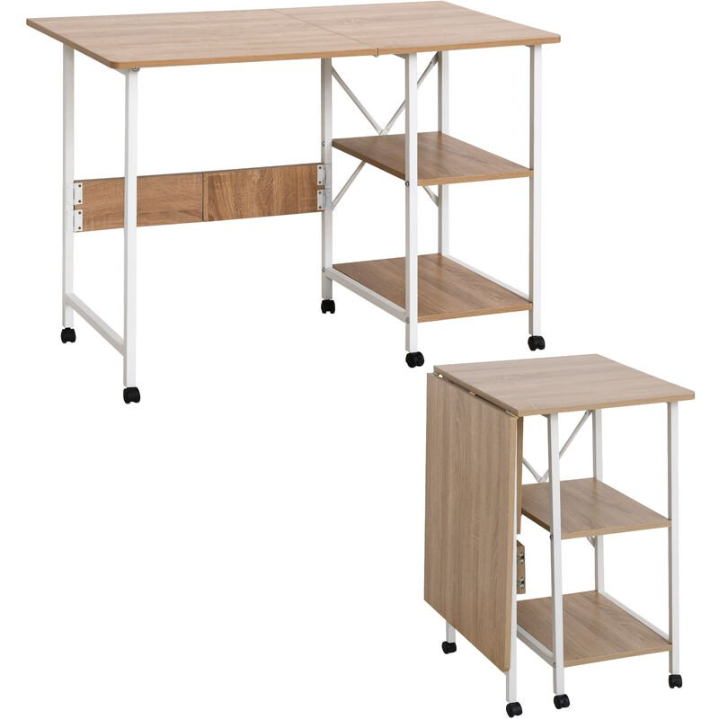 ® Klapptisch Tisch Schreibtisch Bürotisch mit Rollen Computertisch Mobil MDF Natur - weiß/natur - Homcom