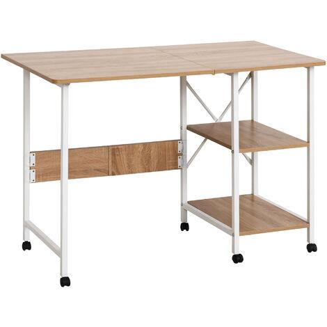 HOMCOM® Klapptisch Tisch Schreibtisch Bürotisch mit Rollen Computertisch Mobil MDF Natur - weiß/natur