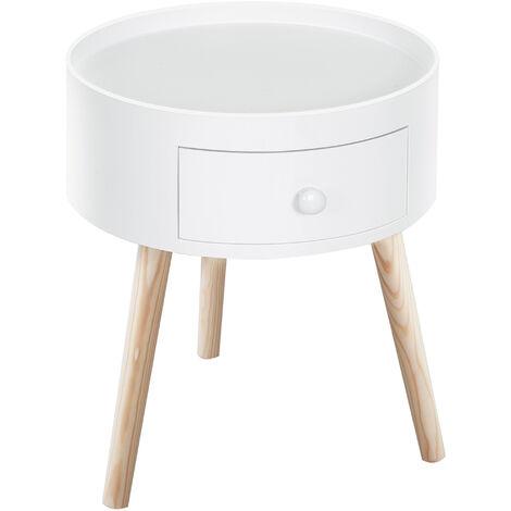 HOMCOM® kleiner Beistelltisch Couchtisch Wohnzimmertisch rund skandinavisches Design mit Stauraum mit Schubladen Holz Weiß Ø38 x H45cm