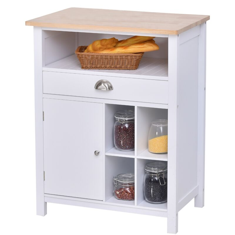 HOMCOM® Küchenschrank Beistellschrank Kommode Sideboard mit Schublade und Weinregal Weiß - weiß/natur