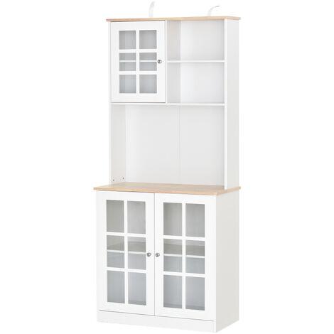 HOMCOM® Küchenschrank mit Arbeitsplatte Hochschrank Glastür MDF Weiß - weiß