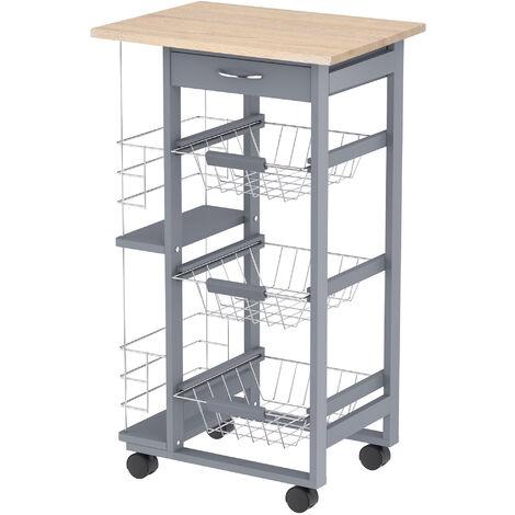 HOMCOM® Küchenwagen auf Rädern Arbeitsplatte In- und Outdoor Grau Kiefernholz
