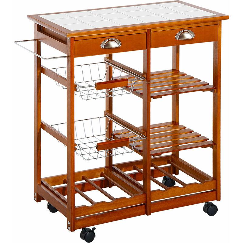 HOMCOM® Küchenwagen aus Holz 2 Schubfächer und Flaschenablage - 05-0020