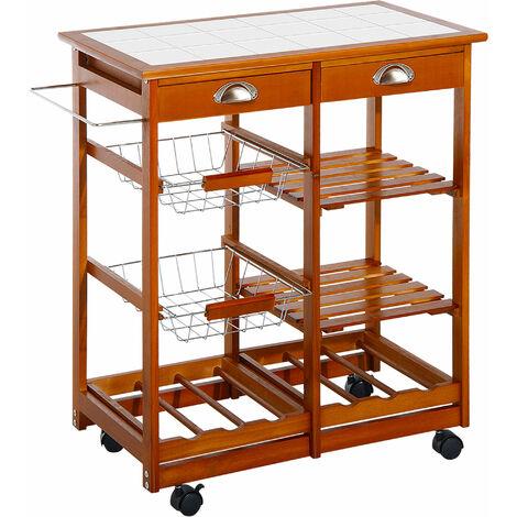 HOMCOM® Küchenwagen aus Holz 2 Schubfächer und Flaschenablage - natur