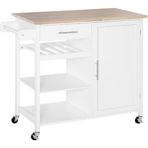 HOMCOM® Küchenwagen Küchenschrank Servierwagen Rollwagen Schublade Massivholz Weiß 105 x 45 x 89 cm - weiß/natur