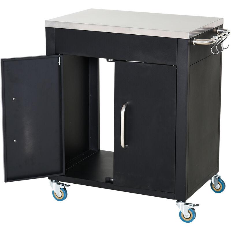 ® Küchenrollwagen Servierwagen Küchenschrank Edelstahl Schwarz - schwarz - Homcom