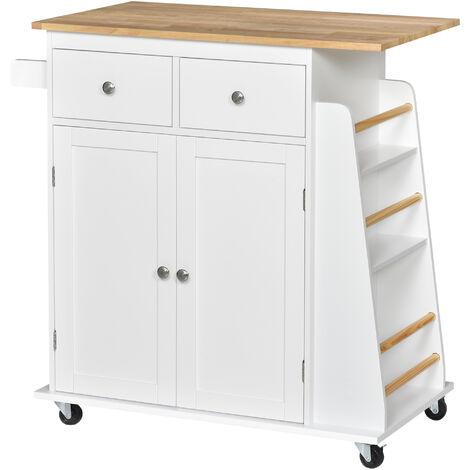HOMCOM® Küchenwagen mit Rollen Servierwagen Küchenschrank mit Gewürzregal Gummiholz Weiß - weiß/natur