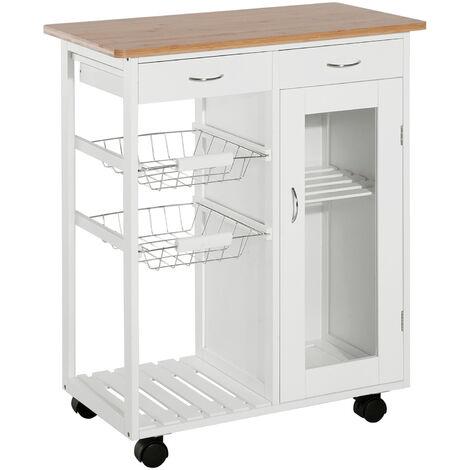 HOMCOM® Küchenwagen Servierwagen Küchenregal Beistellwagen Kiefer weiß