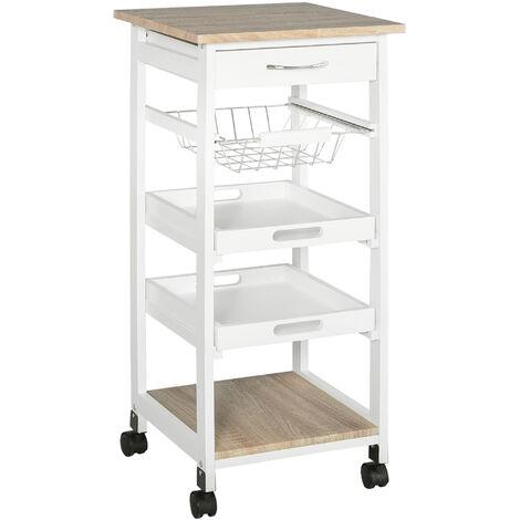 HOMCOM® Küchenwagen Servierwagen mit Schublade Abnehmbares Tablett Kiefer Weiß