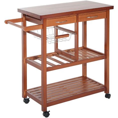 HOMCOM® Küchenwagen Servierwagen mit Schubladen aus Holz - natur