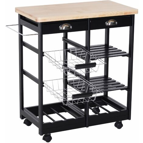 HOMCOM Küchenwagen Servierwagen mit Schubladen Weinablage rollbar aus Holz schwarz+natur 74 x 37 x 76 cm