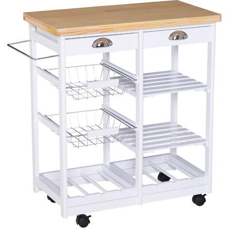 HOMCOM Küchenwagen Servierwagen mit Schubladen Weinablage rollbar aus Holz weiß