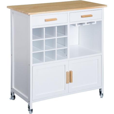 HOMCOM® Küchenwagen Servierwagen mit Weinablage - weiß/natur