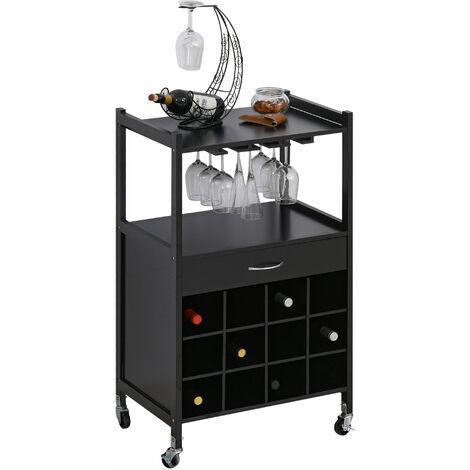 HOMCOM® Küchenwagen Servierwagen Rollwagen Beistellwagen mit Weinablage Schwarz