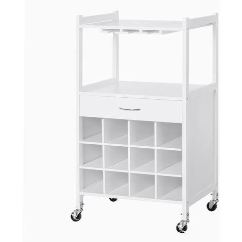 HOMCOM® Küchenwagen Servierwagen Rollwagen Beistellwagen mit Weinablage Weiß