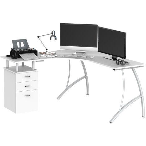 HOMCOM L-Shape Designer Computer Desk PC Workstation Home Office Furniture (White)
